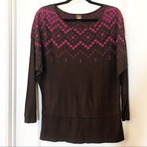 Anthropologie Language Brown Pink Purple Tunic Med